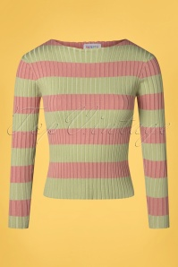 Compania Fantastica 60s Amiyah Stripes Jumper in Green and Pink