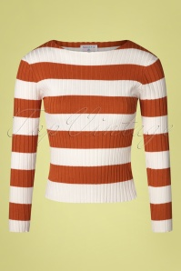 Compania Fantastica 60s Amiyah Stripes Jumper in Rust and White