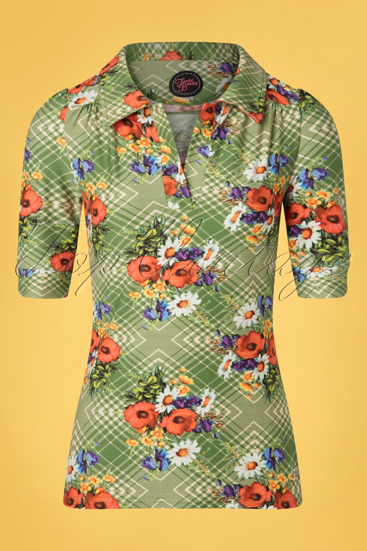 60s Shirts, T-shirts, Blouses, Hippie Shirts 60s Kyra Poppy Shirt in Green £54.30 AT vintagedancer.com