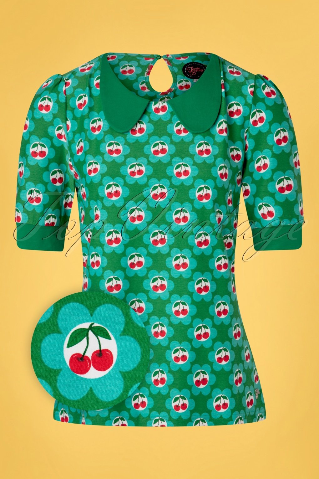 60s Shirts, T-shirts, Blouses, Hippie Shirts 60s Sunday Cherry Shirt in Blossom Green £43.65 AT vintagedancer.com
