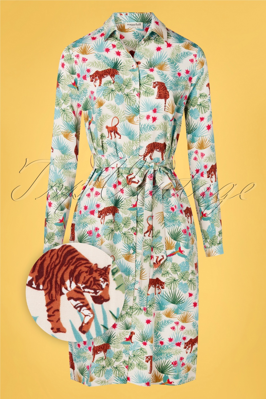 70s Dresses – Disco Dress, Hippie Dress, Wrap Dress 70s Reva Daybreak Jungle Shirt Dress in Stone Cream £60.50 AT vintagedancer.com