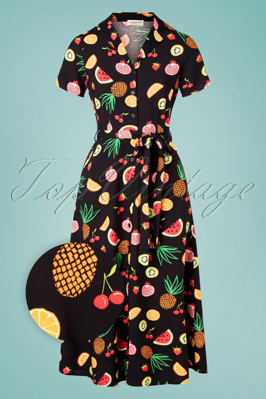 70s Dresses – Disco Dress, Hippie Dress, Wrap Dress 70s Nettie Fruit Punch Shirt Midi Dress in Black £64.88 AT vintagedancer.com