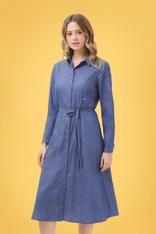 70s Dresses – Disco Dress, Hippie Dress, Wrap Dress 70s Britney Chambray Shirt Dress in Denim Blue £60.50 AT vintagedancer.com