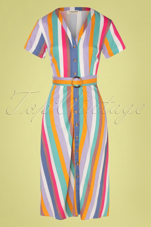 Sailor Dresses, Nautical Theme Dress, WW2 Dresses 70s Cassidy Cruise Stripes Midi Dress in Multi £65.73 AT vintagedancer.com