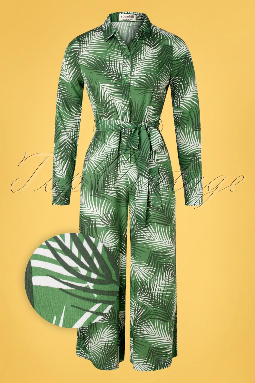 Retro Tiki Dress – Tropical, Hawaiian Dresses 70s Sienna Shady Palm Wide Leg Jumpsuit in Green £70.17 AT vintagedancer.com