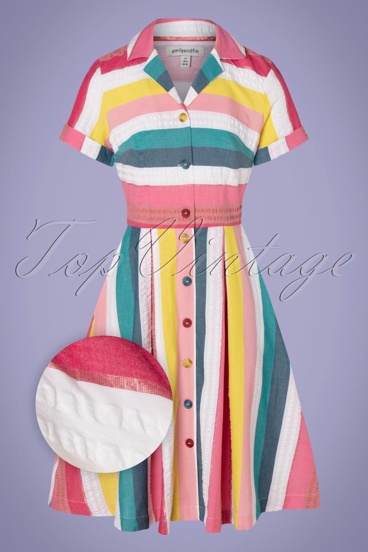 Vintage Shirtwaist Dress History 50s Kate Rainbow Stripe Shirt Dress in Multi £115.08 AT vintagedancer.com
