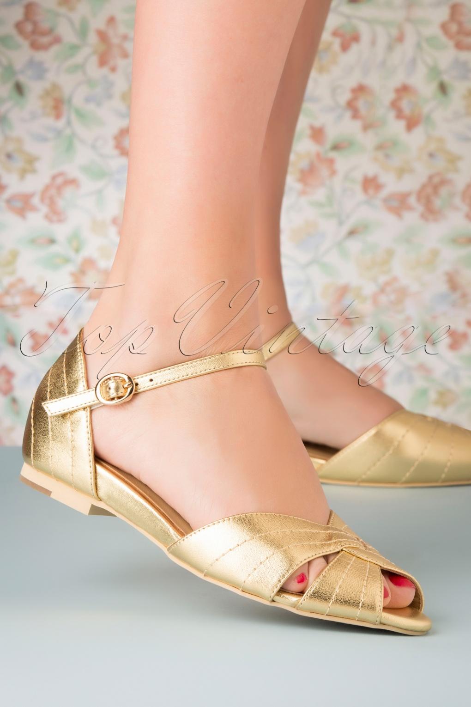 1950s Style Shoes | Heels, Flats, Saddle Shoes 50s Santorini Peeptoe Flats in Hot Gold £107.00 AT vintagedancer.com
