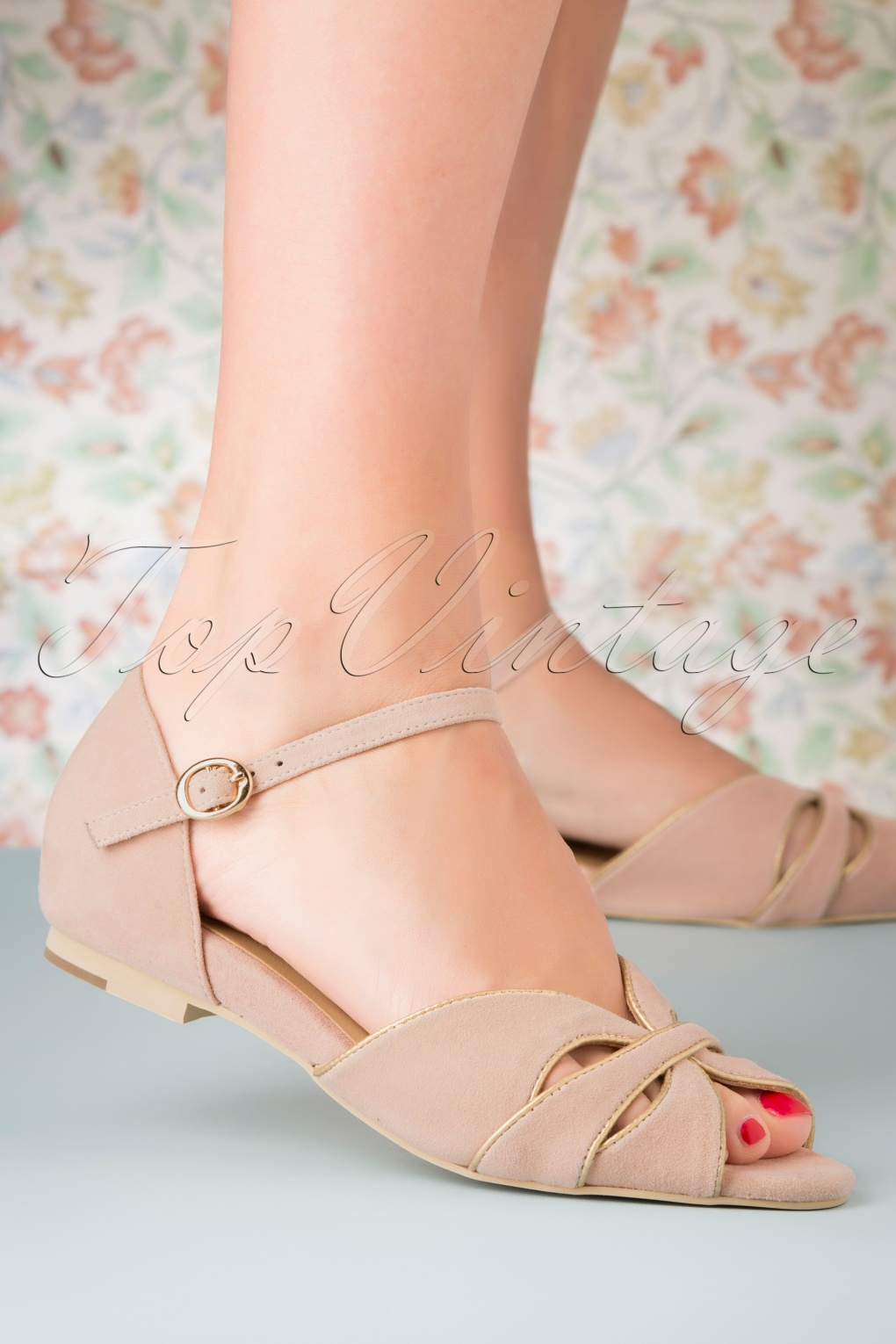 1950s Style Shoes | Heels, Flats, Saddle Shoes 50s Athina Suede Peeptoe Flats in Blush £108.49 AT vintagedancer.com