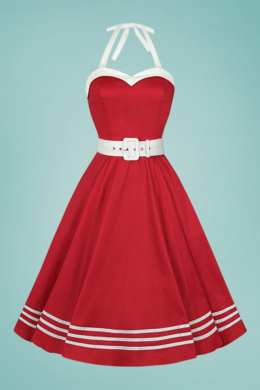 Sailor Dresses, Nautical Theme Dress, WW2 Dresses 50s Georgie Nautical Halter Swing Dress in Red £71.96 AT vintagedancer.com
