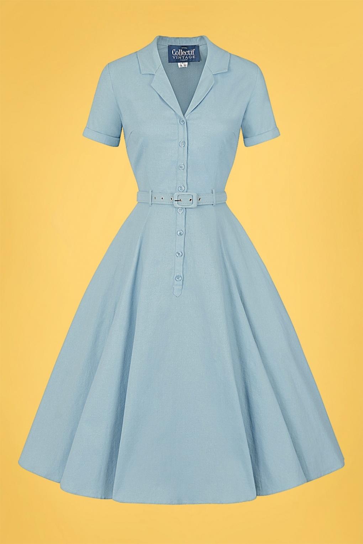 Vintage Style Shirtwaist Dresses, Shirt Dresses 50s Caterina Swing Dress in Blue £24.95 AT vintagedancer.com