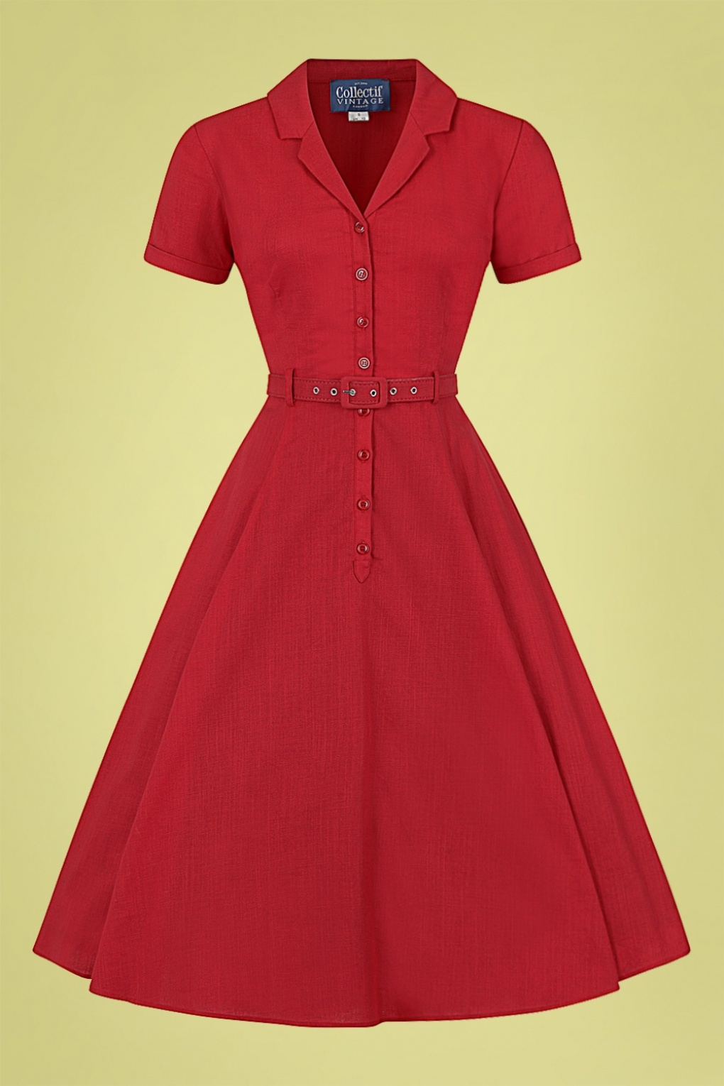 Modest, Mature, Mrs. Vintage Dresses – 20s, 30s, 40s, 50s, 60s 50s Caterina Swing Dress in Strawberry Red £65.46 AT vintagedancer.com