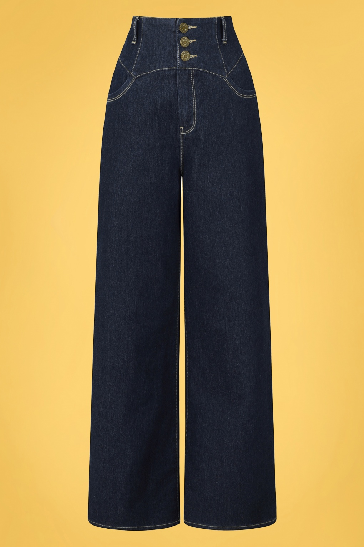 1950s Pants & Jeans- High Waist, Wide Leg, Capri, Pedal Pushers 50s Rebel Kate Wide Leg Trousers in Navy £24.95 AT vintagedancer.com