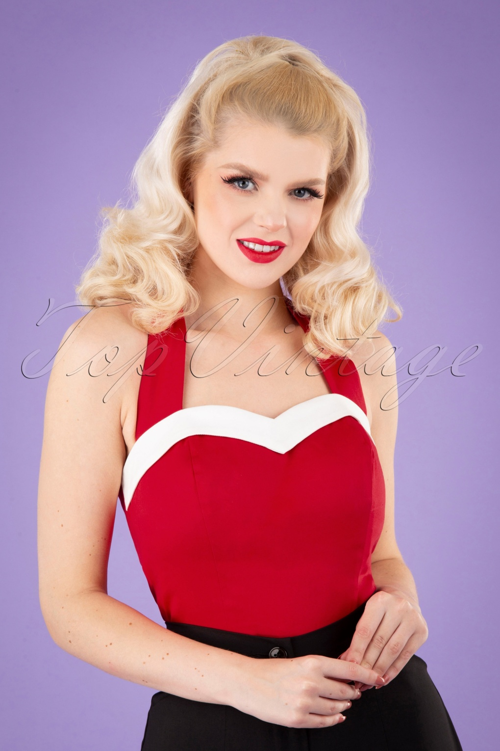 1950s Rockabilly & Pin Up Tops, Blouses, Shirts 50s Shelly Top in Red £28.91 AT vintagedancer.com