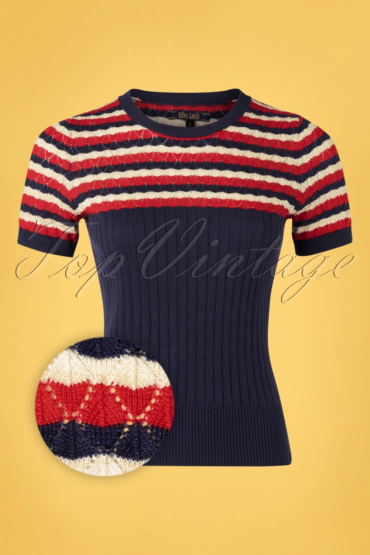 60s Shirts, T-shirts, Blouses, Hippie Shirts 60s Gigi Biarritz Top in Nuit Blue £61.88 AT vintagedancer.com