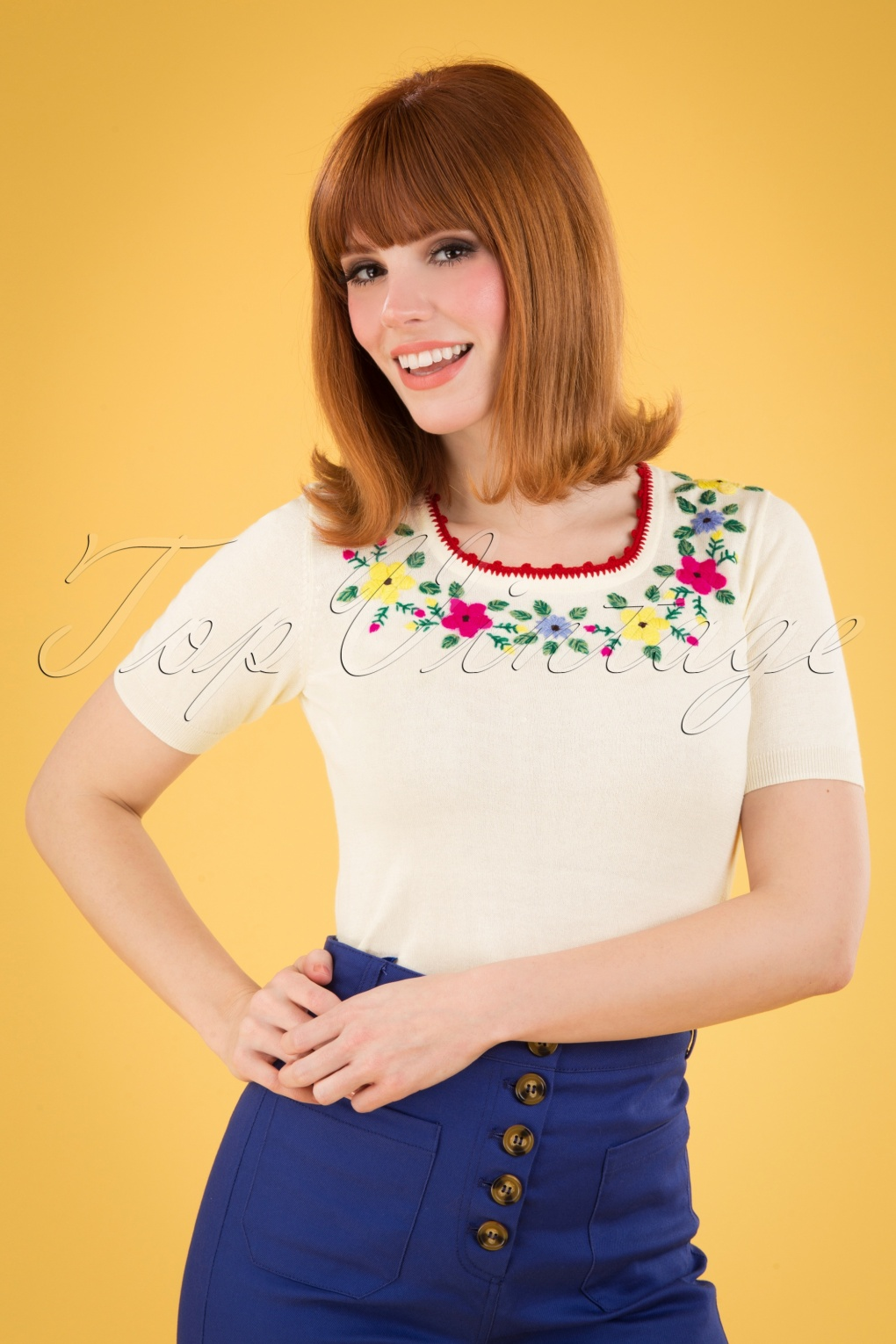 Vintage Sweaters, Retro Sweaters & Cardigan Ladies 50s Lexi Grappa Top in Cream £54.27 AT vintagedancer.com