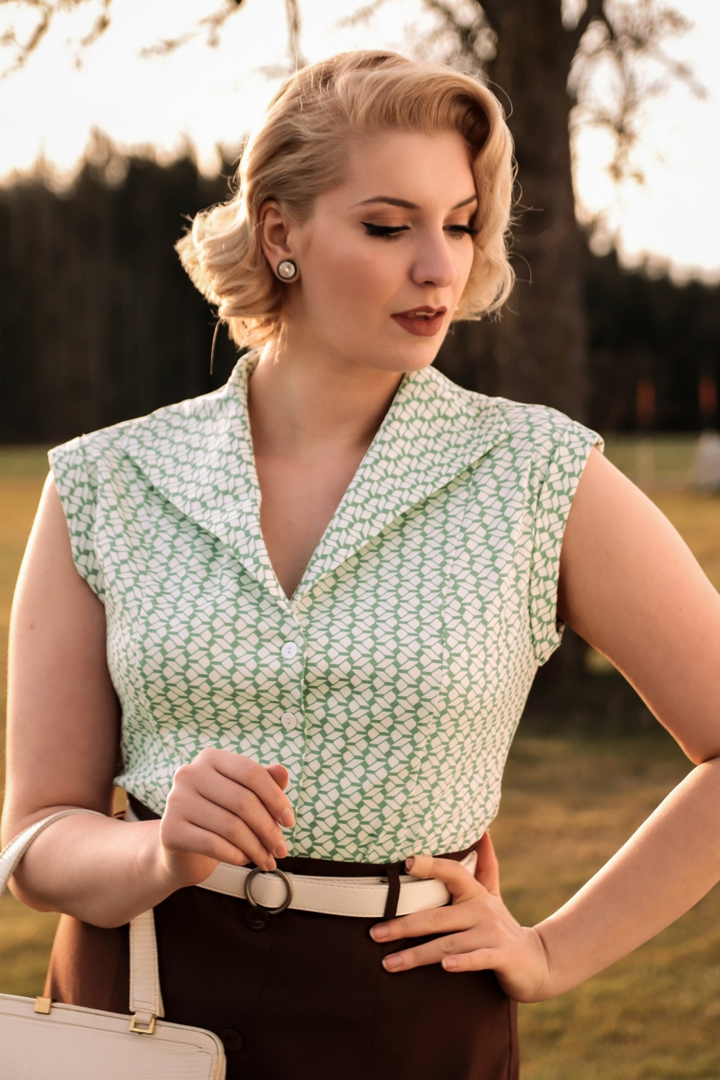 1940s Blouses and Tops 40s Tina Tile Blouse in Mint £33.47 AT vintagedancer.com