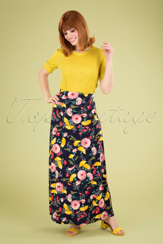 Retro Skirts   Vintage, Pencil, Circle, & Plus Sizes 60s Rosabelle Border Maxi Skirt in Navy Blue £50.06 AT vintagedancer.com