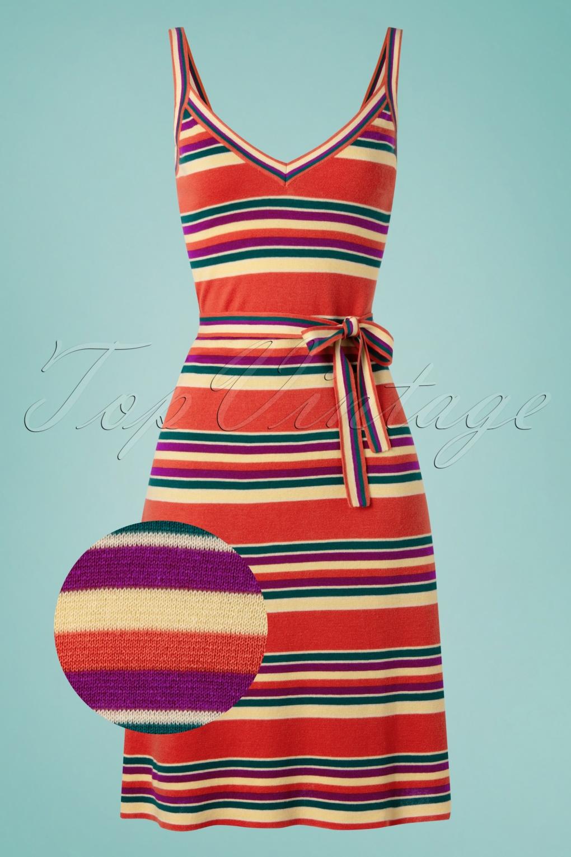 60s Dresses & 60s Style Dresses UK 60s Isa Cami Playa Stripe Dress in Apple Pink £88.83 AT vintagedancer.com