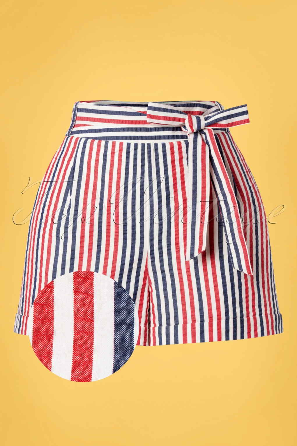 Vintage High Waisted Shorts, Sailor Shorts, Retro Shorts 50s Roisin Bellaria Stripes Shorts in Gardenia White £55.21 AT vintagedancer.com