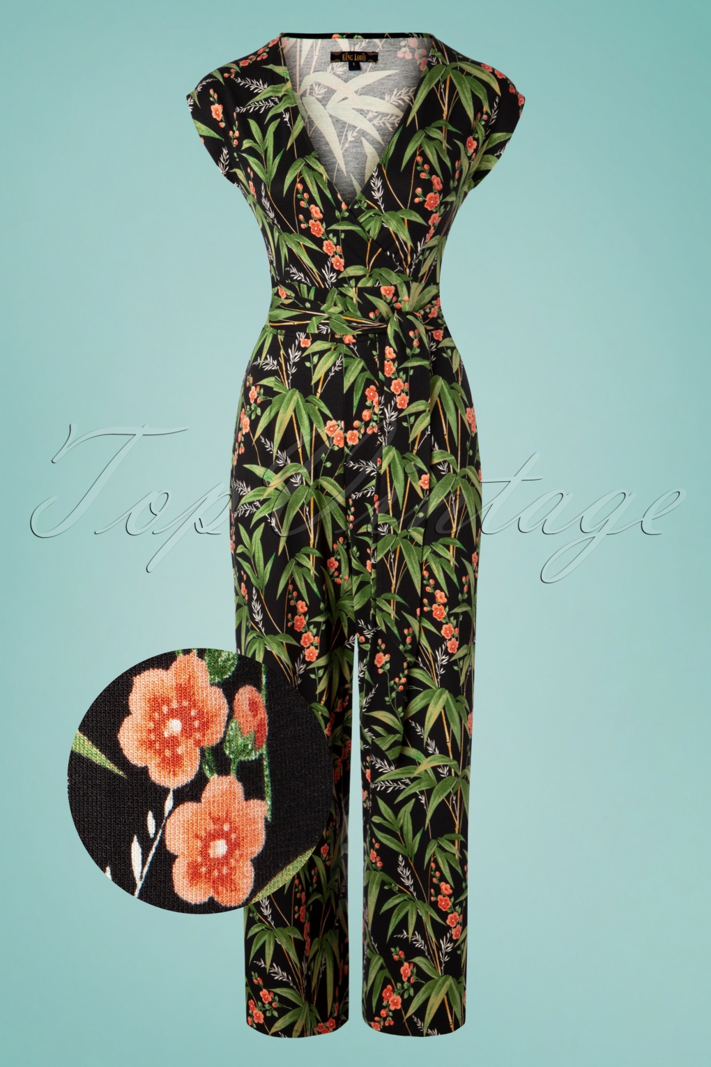 Vintage High Waisted Trousers, Sailor Pants, Jeans 60s Lot Tahiti Cropped Jumpsuit in Black £114.02 AT vintagedancer.com
