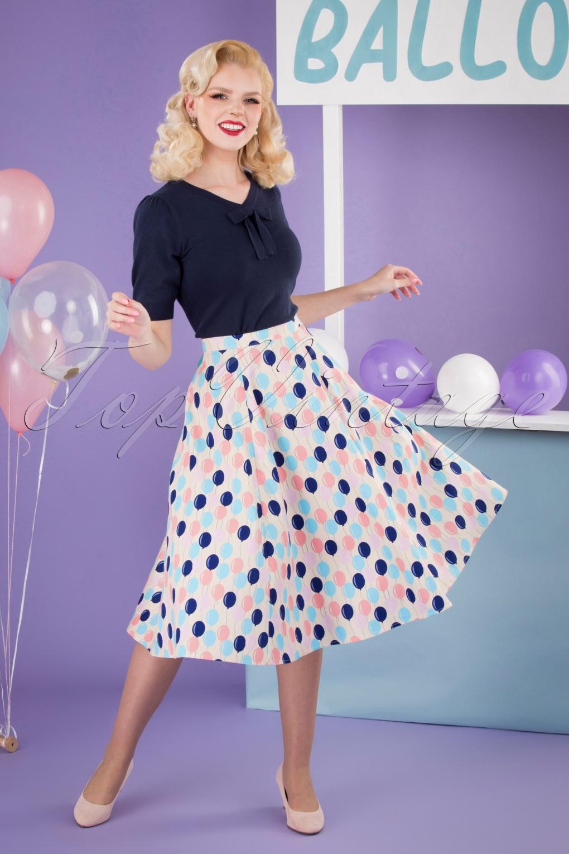 1950s Swing Skirt, Poodle Skirt, Pencil Skirts 50s Matilde Balloons Swing Skirt in Cream £32.24 AT vintagedancer.com