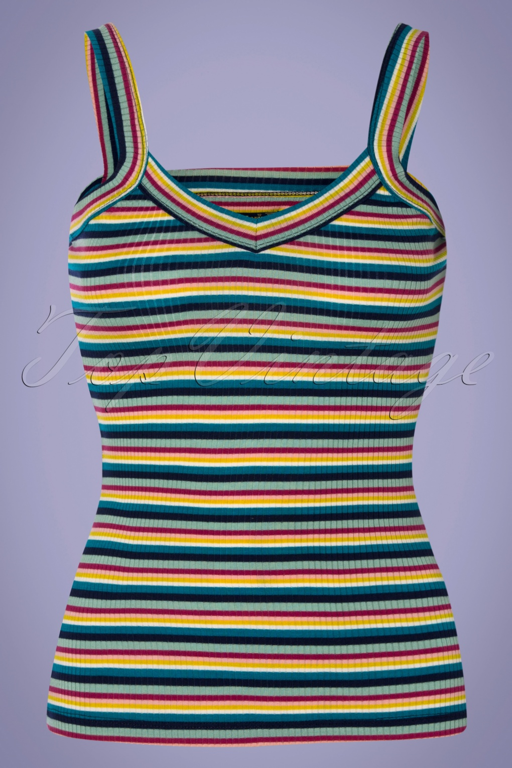 60s Shirts, T-shirts, Blouses, Hippie Shirts 60s Isa Daydream Stripes Camisole Top in Blue £35.05 AT vintagedancer.com