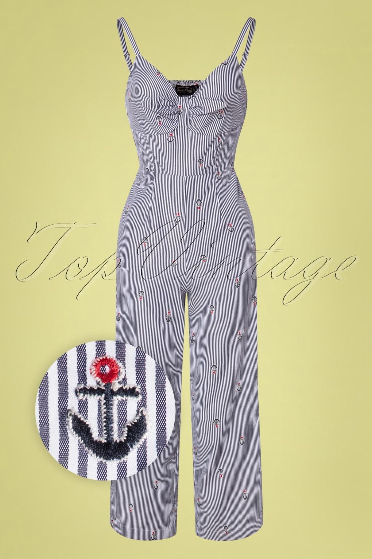 Sailor Dresses, Nautical Theme Dress, WW2 Dresses 50s Andy Anchor Jumpsuit in Blue £61.28 AT vintagedancer.com