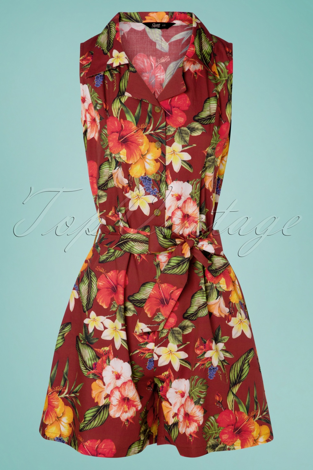 Vintage Rompers, Playsuits | Retro, Pin Up, Rockabilly Playsuits 50s Mambo Jumpsuit in Bordeaux £24.95 AT vintagedancer.com