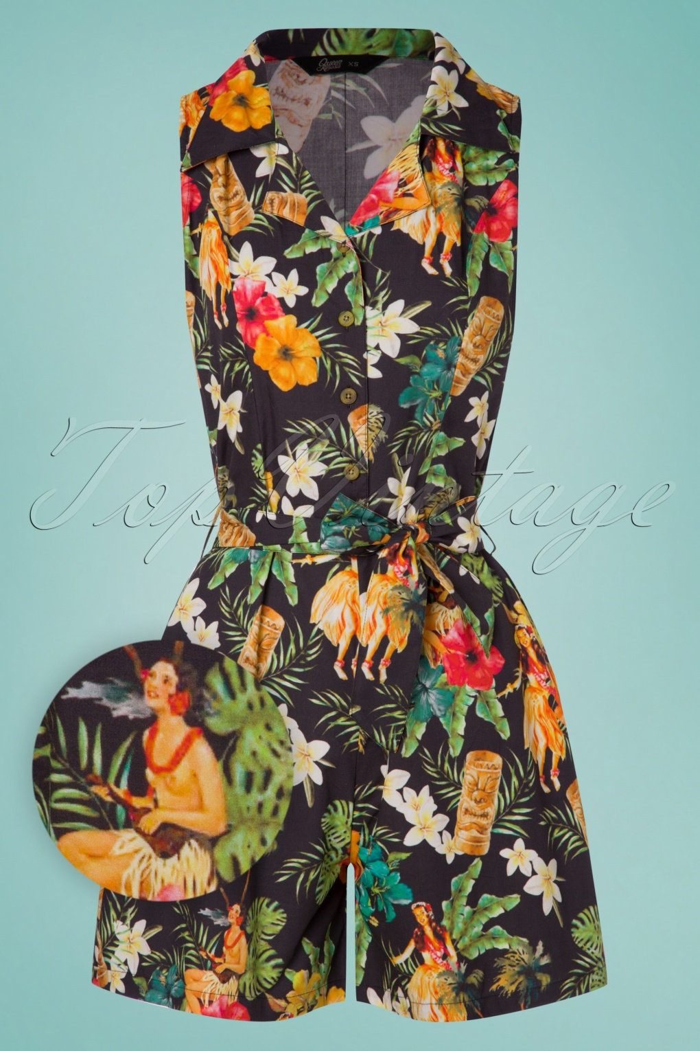 Vintage Rompers, Playsuits | Retro, Pin Up, Rockabilly Playsuits 50s Mambo Jumpsuit in Black £71.61 AT vintagedancer.com