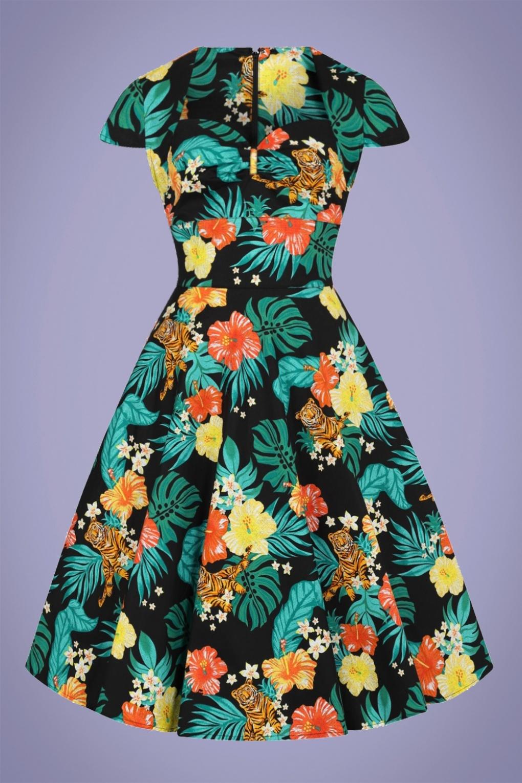 New Fifties Dresses | 50s Inspired Dresses 50s Bali Swing Dress in Black £54.30 AT vintagedancer.com