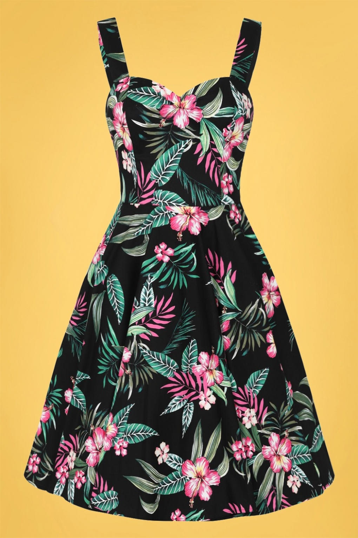 New Fifties Dresses | 50s Inspired Dresses 50s Kalani Swing Dress in Black £60.64 AT vintagedancer.com