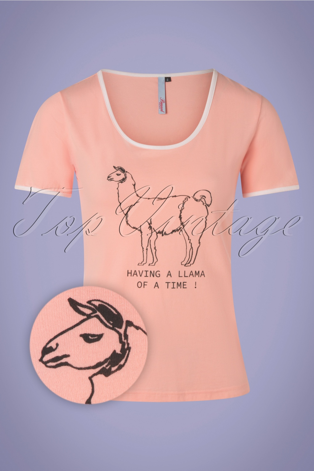 Having A Llama Of A Time T-Shirt Années 60 en Rose