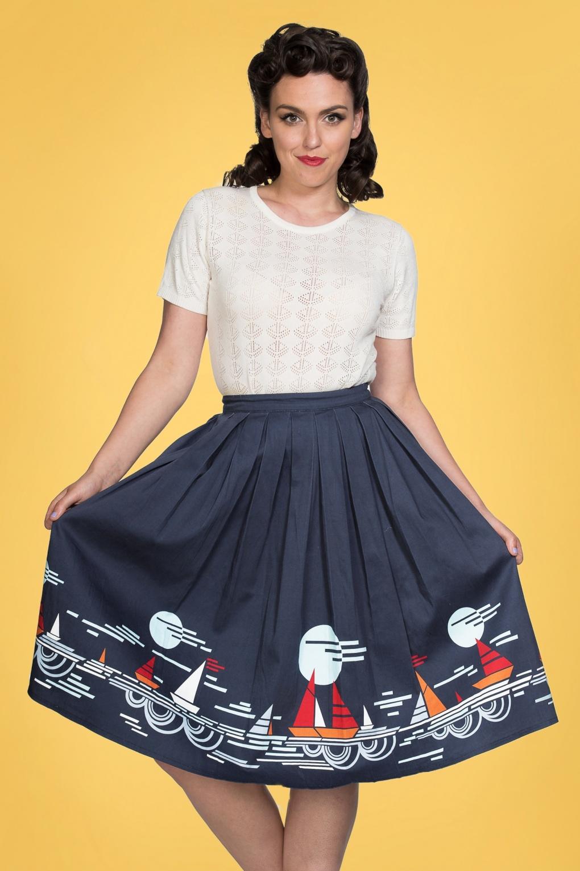 Sailor Dresses, Nautical Theme Dress, WW2 Dresses 50s Summer Sail Pleated Swing Skirt in Navy £39.06 AT vintagedancer.com
