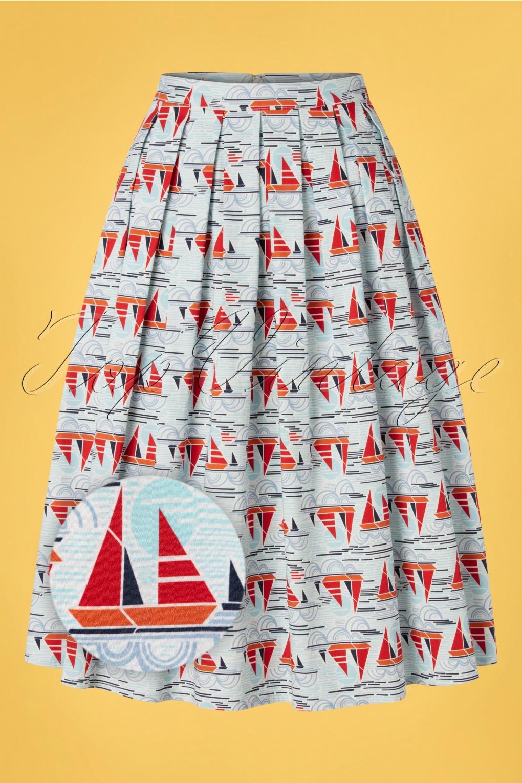 Sailor Dresses, Nautical Theme Dress, WW2 Dresses 50s Sail Away Pleated Swing Skirt in Blue £39.06 AT vintagedancer.com