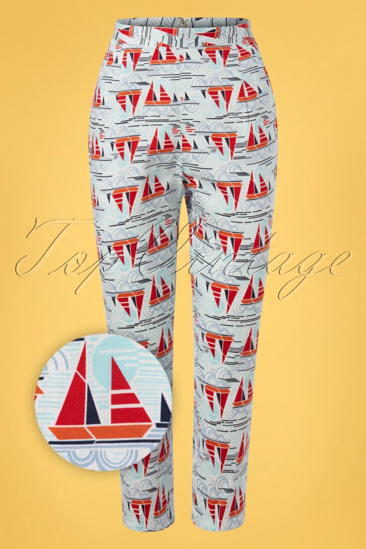 Sailor Dresses, Nautical Theme Dress, WW2 Dresses 50s Sail Away Capri Trousers in Blue £35.51 AT vintagedancer.com