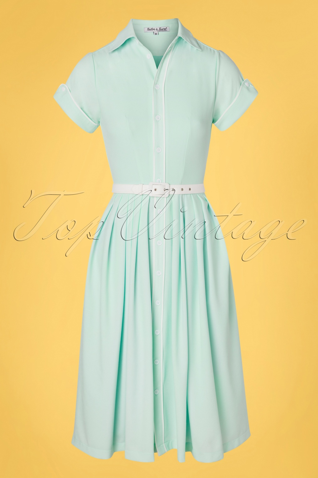 Fifties Dresses : 1950s Style Swing to Wiggle Dresses 50s Day Swing Dress in Sky Blue £102.17 AT vintagedancer.com