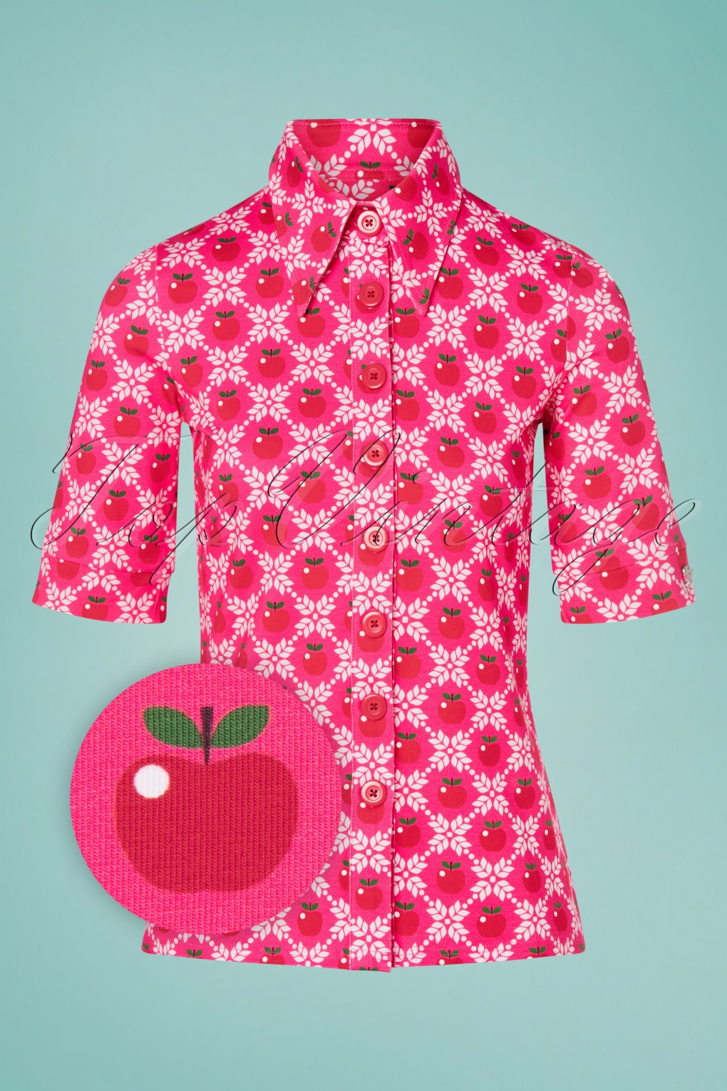 60s Shirts, T-shirts, Blouses, Hippie Shirts 60s Apple Grain Button Blouse in Pink £52.67 AT vintagedancer.com