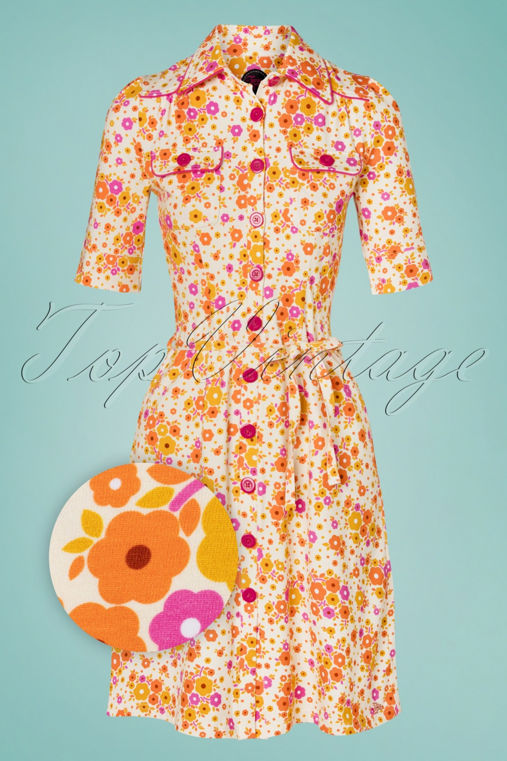 60s Dresses | 1960s Dresses Mod, Mini, Hippie 60s Betsy Fleurie Button Dress in Yellow £79.02 AT vintagedancer.com