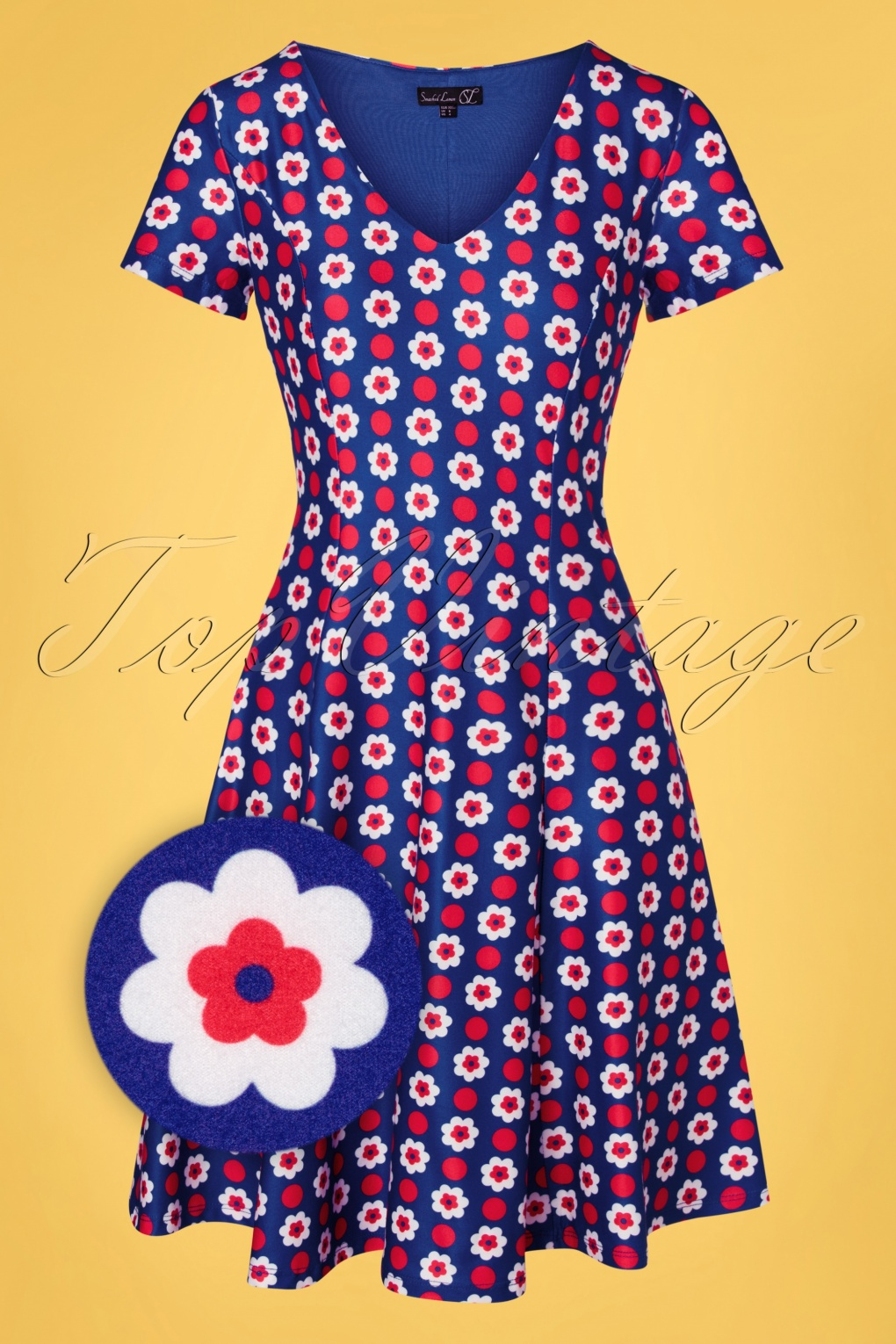 60s Dresses | 1960s Dresses Mod, Mini, Hippie 60s Maura Floral Dress in Royal Blue £61.45 AT vintagedancer.com