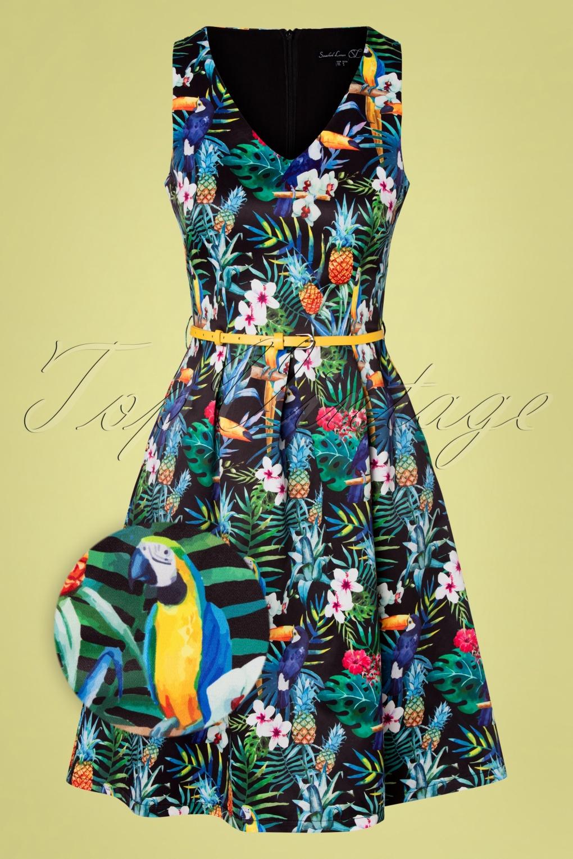 Retro Tiki Dress – Tropical, Hawaiian Dresses 50s Khloe Tropical Dress in Black and Multi £69.60 AT vintagedancer.com