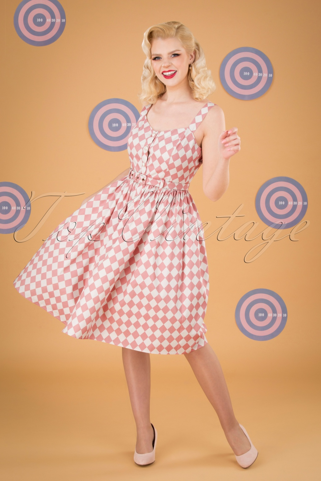 Fifties Dresses : 1950s Style Swing to Wiggle Dresses 50s Jemima Harlequin Swing Dress in Pink £63.85 AT vintagedancer.com