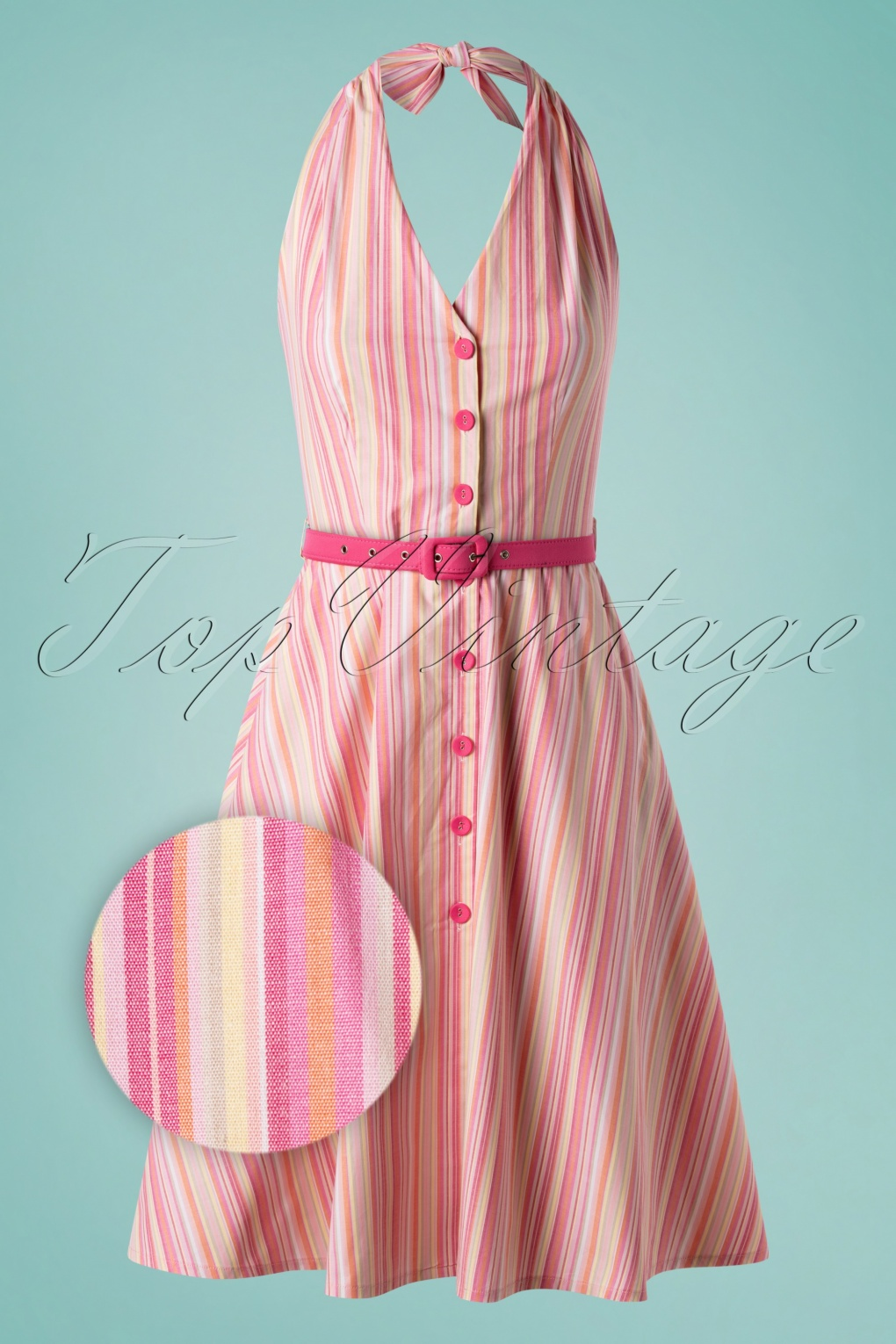 1950s Dresses, 50s Dresses | 1950s Style Dresses 50s Midge Button Down Swing Dress in Multi £47.51 AT vintagedancer.com