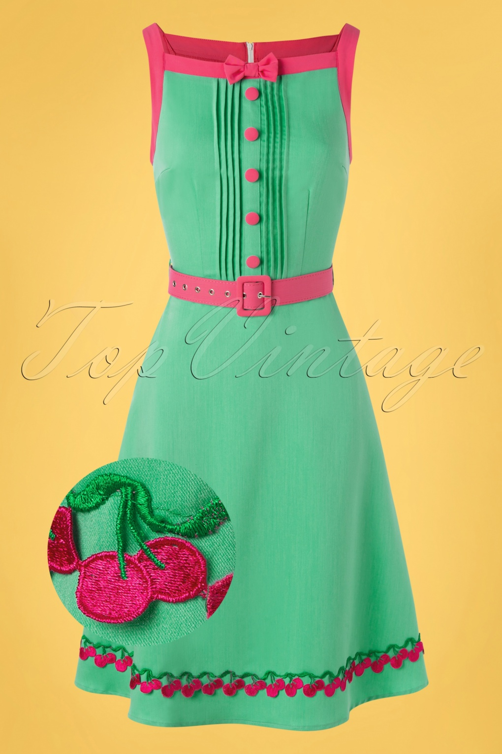 1960s Style Dresses, Clothing, Shoes UK 60s Nelly Dress in Mint and Fuchsia £54.30 AT vintagedancer.com