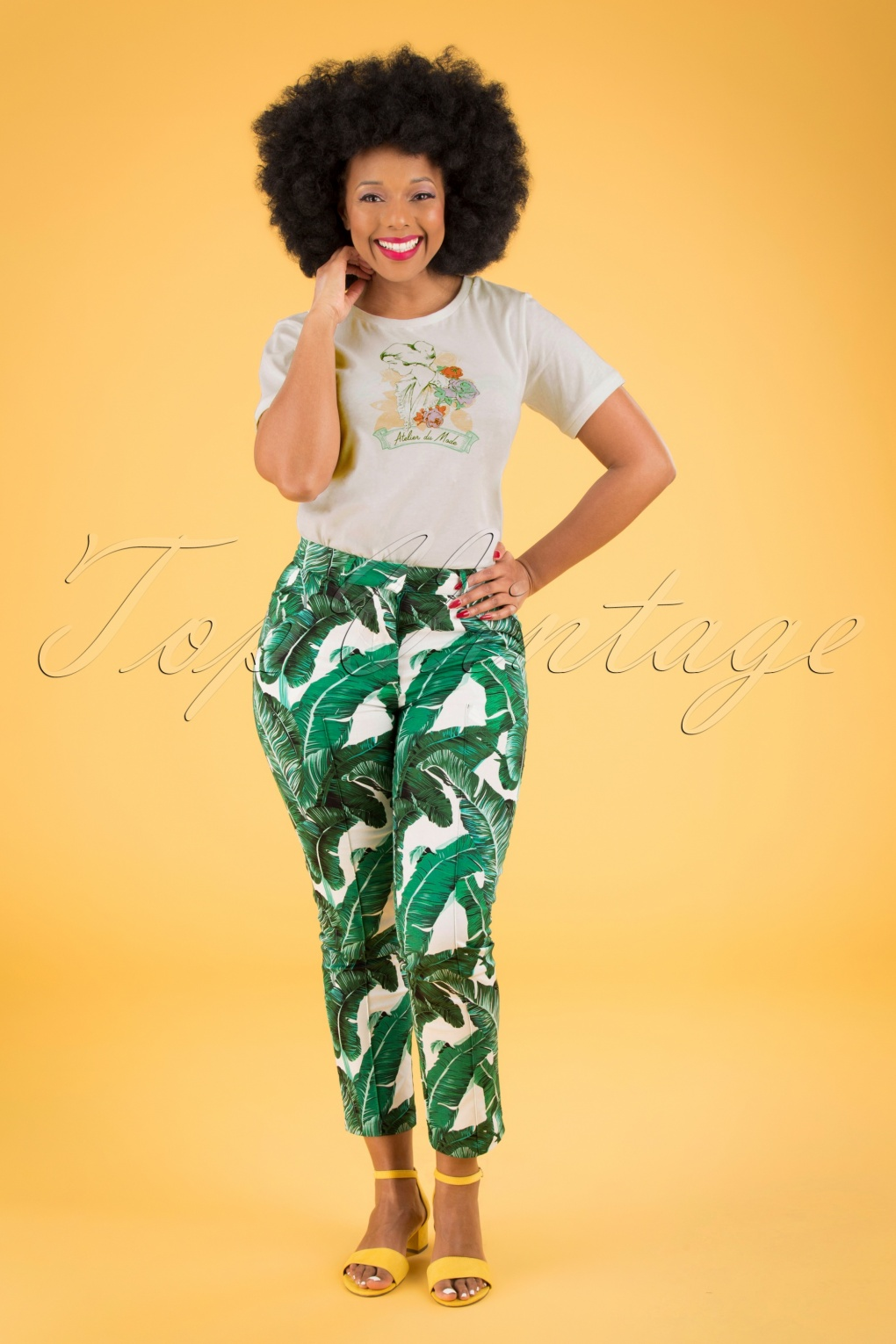 1950s Pants & Jeans- High Waist, Wide Leg, Capri, Pedal Pushers 50s Tropical Leaves Trousers in Green £17.66 AT vintagedancer.com