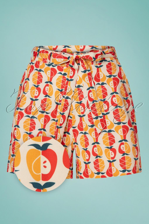 Vintage High Waisted Shorts, Sailor Shorts, Retro Shorts 60s Oh La La Shorts in Fruit Salad Red and Orange £58.83 AT vintagedancer.com