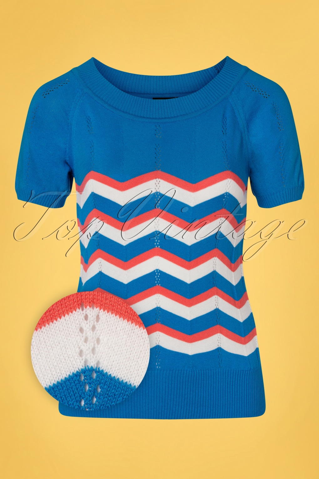 60s Shirts, T-shirts, Blouses, Hippie Shirts 60s Zick Zack Knit Top in Blue and Peach £52.67 AT vintagedancer.com