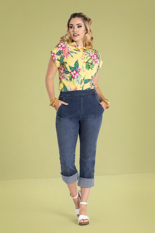 60s – 70s Pants, Jeans, Hippie, Bell Bottoms, Jumpsuits 50s Austin Capris in Denim Blue £35.28 AT vintagedancer.com