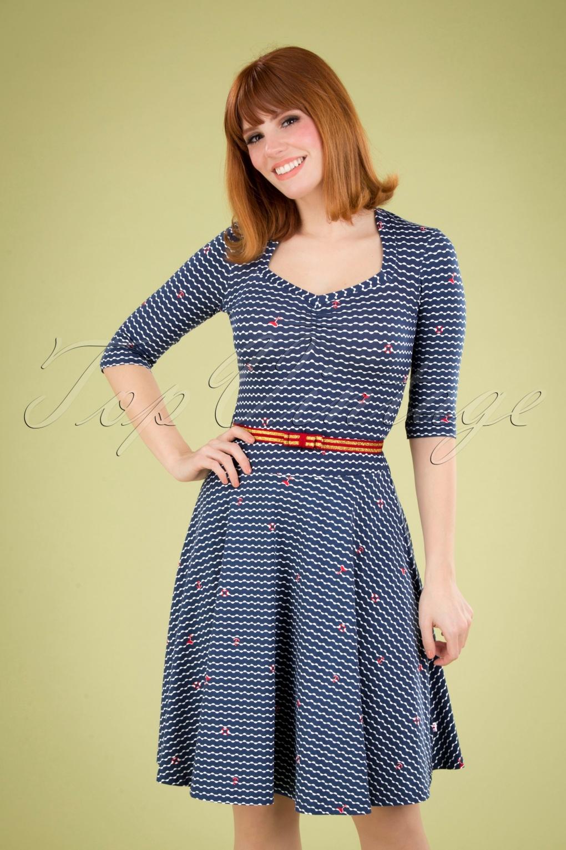 Sailor Dresses, Nautical Theme Dress, WW2 Dresses 60s Suzie The Snake Dress in Over The Ocean Blue £79.95 AT vintagedancer.com