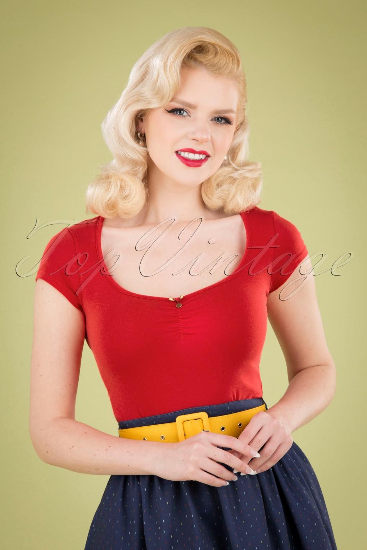 Logo Feminine Short Sleeve Top Années 50 en Rouge