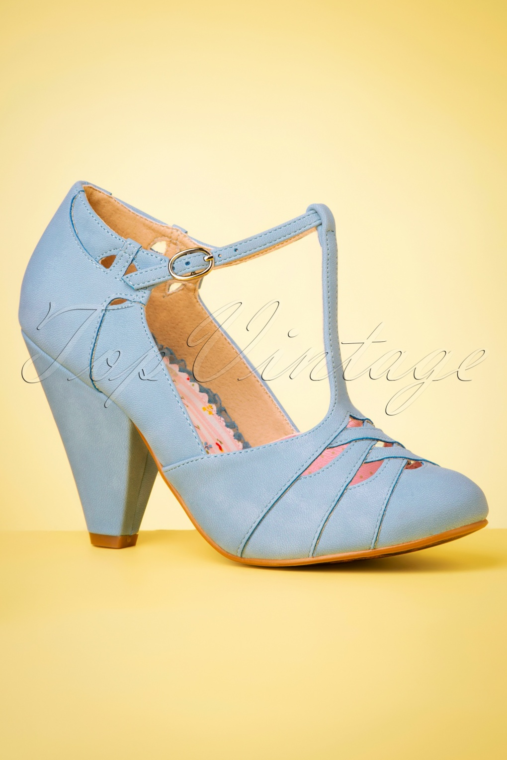 Pin Up Shoes- Heels, Pumps & Flats 50s Laura T-Strap Pumps in Baby Blue £65.07 AT vintagedancer.com